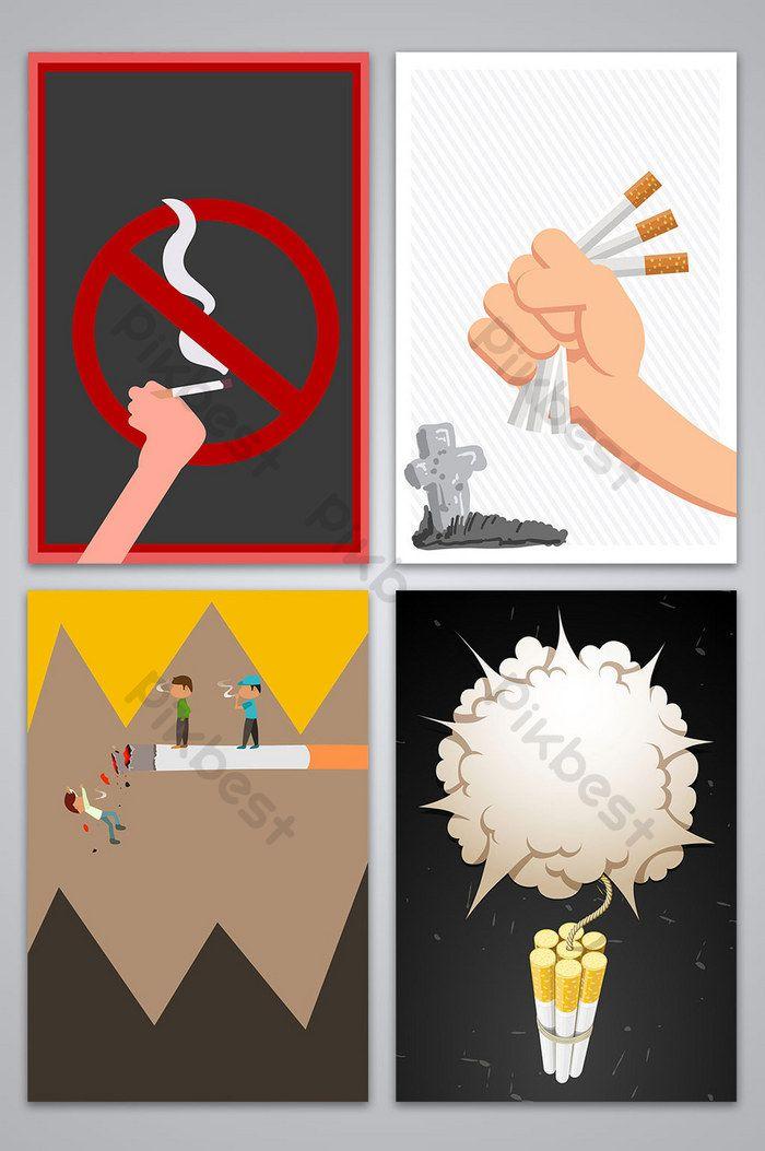 Poster Bahaya Merokok Baik Vektor Tangan Diambil Gambar Kesihatan Latar Belakang Poster Bahaya