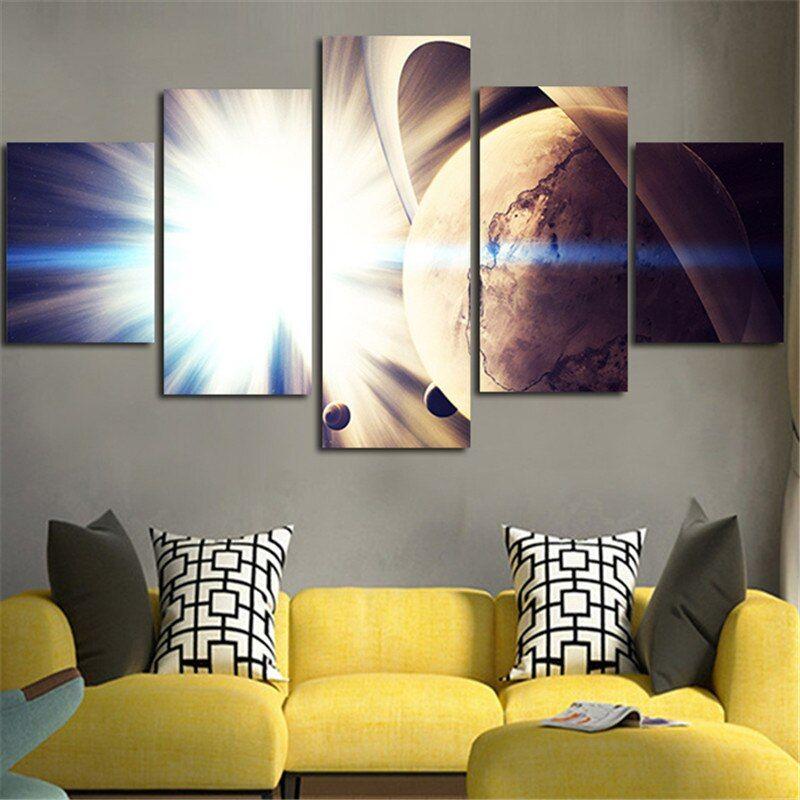 2016 dibingkai kanvas gambar seni dinding lukisan cahaya terang untuk bumi poster dicetak 5 pesawat dekorasi rumah untuk tamu ruang di painting