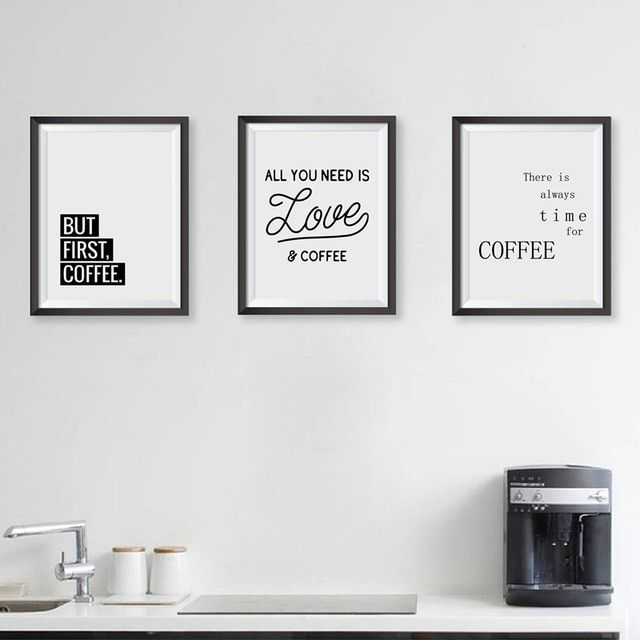 coffee quote wall art prints kitchen home decor love coffee poster canvas painting prints coffee shop wall decor
