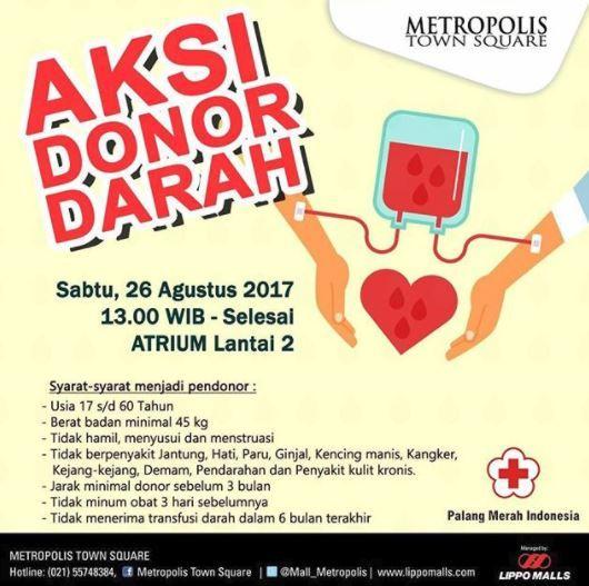 Poster Donor Darah Menarik Aksi Donor Darah Di Metropilis town Square Gotomalls