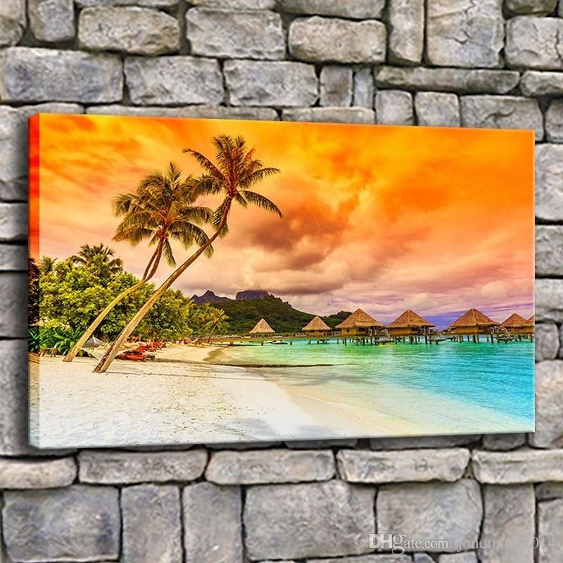 Poster Frames Singapore Terhebat 2019 Canvas Painting Living Room Wall Art Frame Tropical Sea Beach