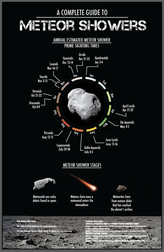complete final version of meteor shower infographic meteor shower data visualisation project 3