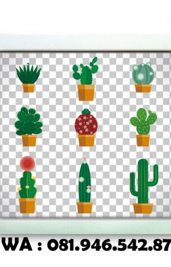 081 946 542 871 poster pajangan dinding gambar kaktus kartun