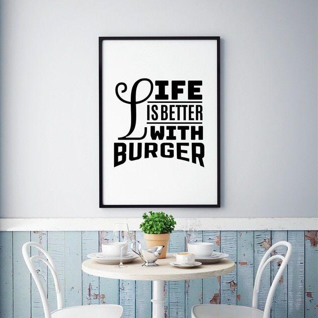 Poster Makanan Sehat Meletup Hidup Lebih Baik Dengan Burger Kutipan Seni Kanvas Lukisan Poster