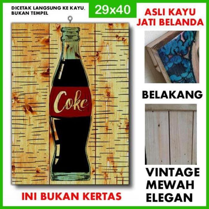 poster minuman coke pse40 kayu vintage asli dinding rumah kafe