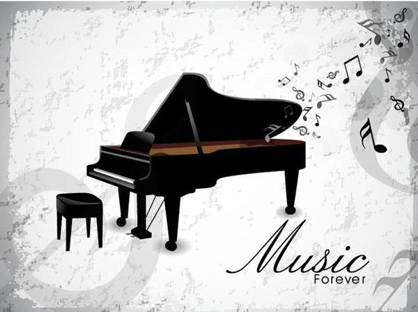music forever piano wall art mural poster decor musical note home decoration wallpaper graphic piano room