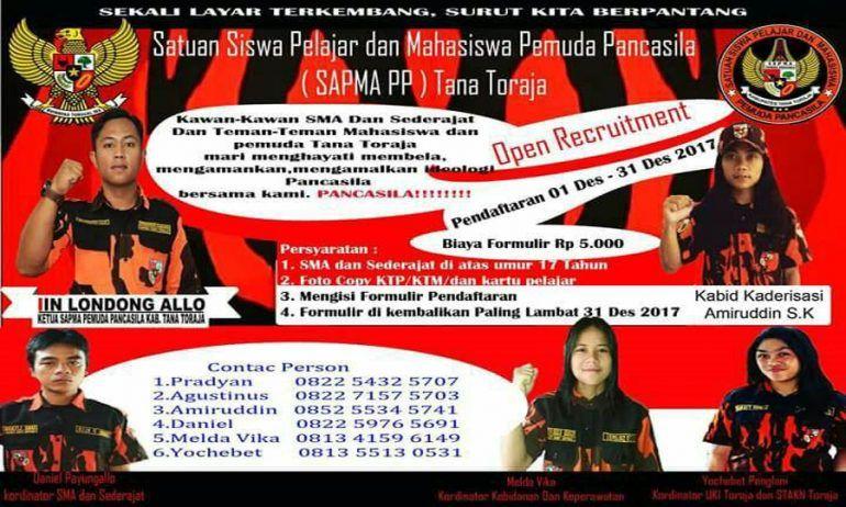 Poster Pancasila Menarik Sapma Pp Tana toraja Terima Anggota Baru anda Mau Gabung Kareba