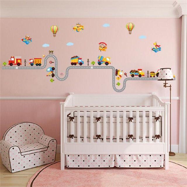 200 cm mobil jalan raya track stiker dinding dekoratif anak baby nursery anak kamar sticker poster