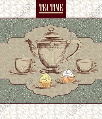 tea drinking tea pot kettle and cups retro card tea time vintage