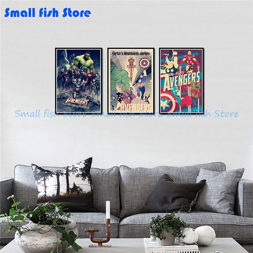 vova the avengers c vintage retro decorative frame poster wall posters home decor gift 42 30 cm