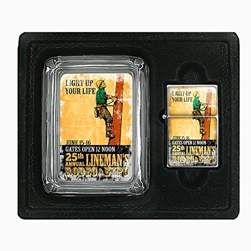 amazon com glass ashtray oil lighter gift set vintage poster d 226 light up your life 25th annual lineman s rodeo expo health personal care