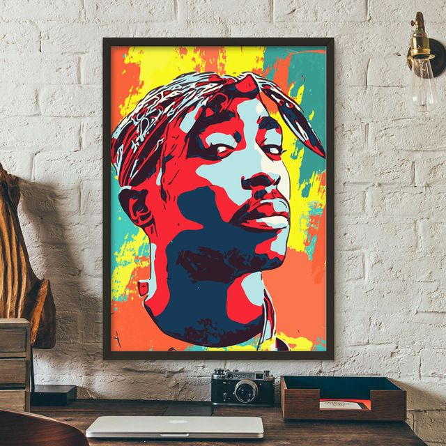 tupac shakur rapper singer star graffiti wall art canvas painting nordic posters and prints wall pictures for living room decor