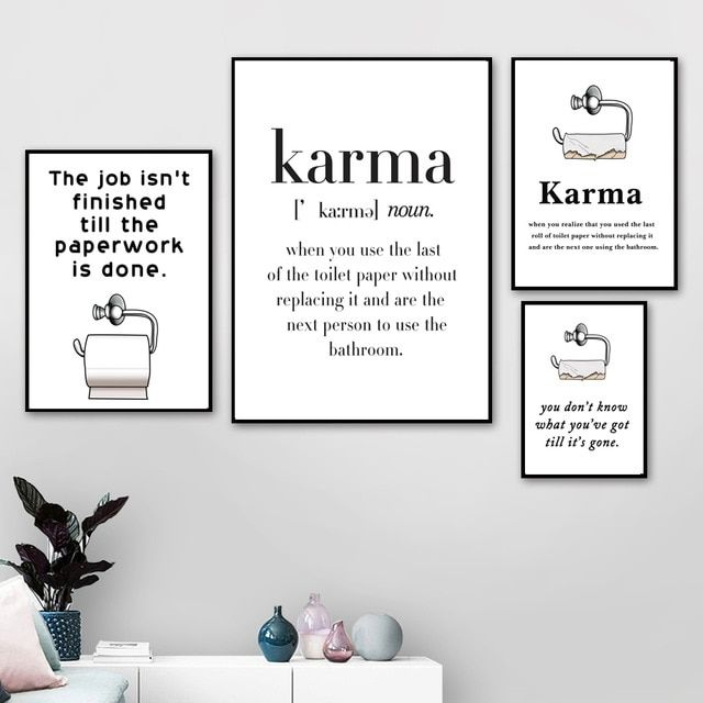 funny poster toilet paper karma nordic posters and prints wall art canvas painting scandinavian wall pictures for bathroom decor