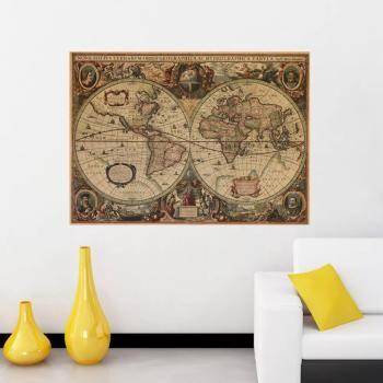 eth0214 kraft paper poster nostalgic navigation world