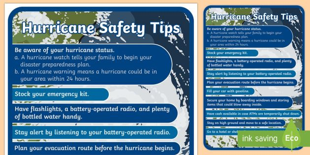 hurricane safety tips poster