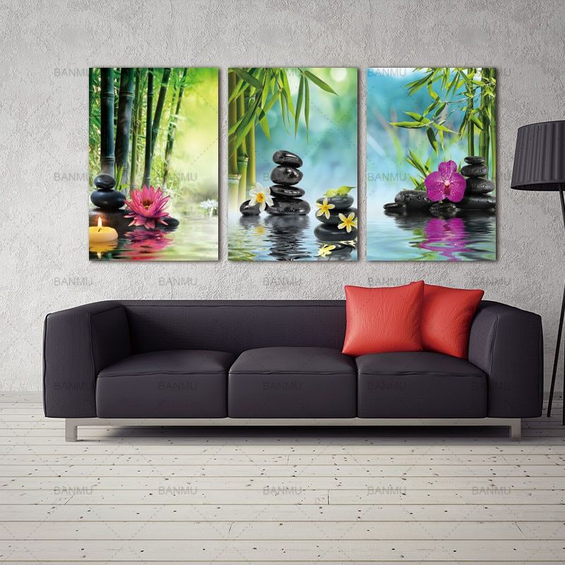 Spa Poster Terbaik Picture Wall Poster Canvas Painting Wall Art Decor Spa Stone Green