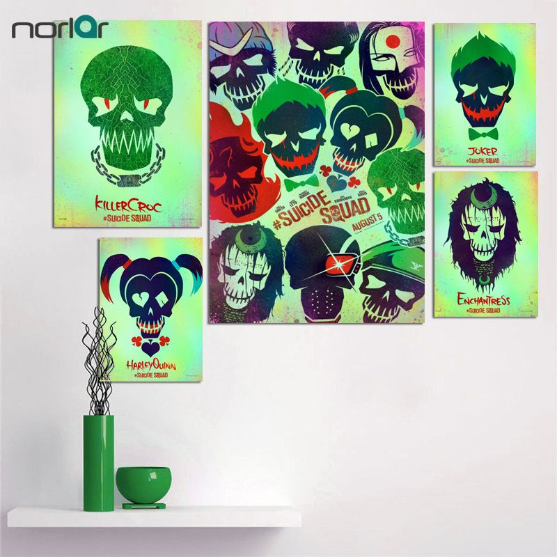 giclee poster cetak pada kanvas harley quinn joker suicide squad tengkorak pop poster kanvas lukisan dinding seni dekorasi no frame di painting