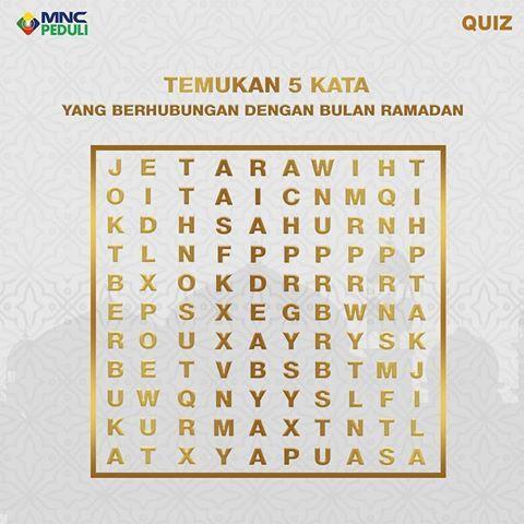sambil mengisi waktu di bulan ramadan yuk coba temukan 5 kata yang berkaitan dengan ramadan