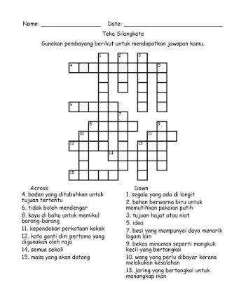 contoh teka silang kata dan jawapan bahasa melayu hebat pelbagai objektif teka silang kata yang sangat