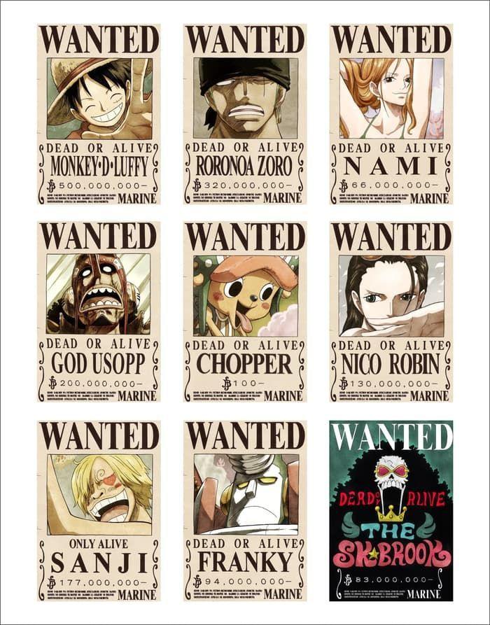 poster bounty wanted one piece ukuran a3 33cmx48cm