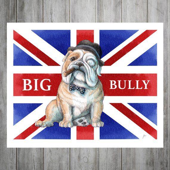 dogs english bulldog british flag napping dog puppy dogs puppies vintage poster print