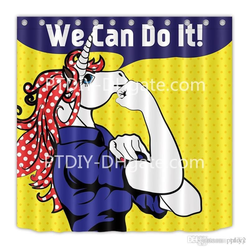 2019 vintage unicorn lady inspiring quote poster shower curtains set for bathroom retro american culture theme decor curtain from ptdiy2 22 22 dhgate