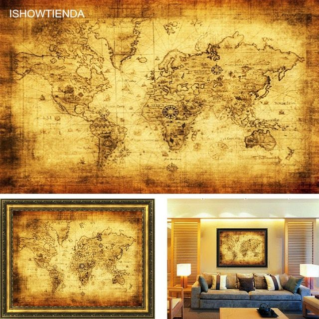 ishowtienda large vintage world map home decoration detailed antique poster retro cloth poster globe old world nautical map gift